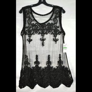 Style & Co Women's Crotchet Sheer Lace Top, L, NwT
